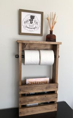 Toilet Paper Holder Free Standing Bathroom Magazine Rack, Wooden Tablet iPhone Shelf, Modern Farmhouse Rustic Decor, Gift For Her Bathroom Industrial Bathroom, Rustic Industrial, Pink Tub, Toilet Paper Art, Black Tub, Magazine Holders, Magazine Rack, Sink Countertop, Small Toilet
