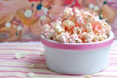 Pink chocolate popcorn.  Fun for a movie date night on Valentines Day!