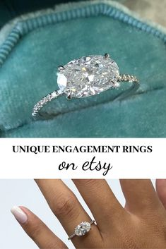A unique east-west oval diamond engagement ring. Click to shop on Etsy.