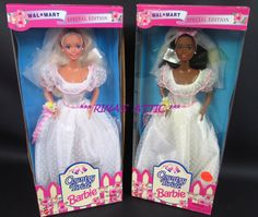 Lot of 2 COUNTRY BRIDE Barbie Dolls 13614 & 13615 AA African American 1994