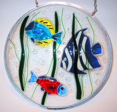 Fused Glass Fish Hanging Panel