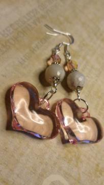 Pink Puffed Heart Earring Dangles