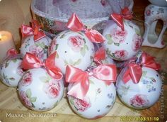 Декупаж - Набор елочных шаров Винтаж