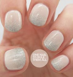 cool neutral nail ombre silver beige