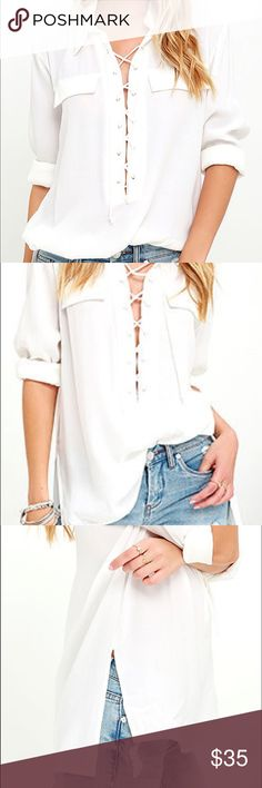 You Know It Ivory Long Sleeve Lace Up Top Never been worn collared lace-up neckline drapes into long Mom Outfits, Denim Fashion, Shirt Blouses, Style Me, Lace Up, Style Inspiration, Shirt Dress, Straight Cut, Long Sleeve