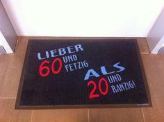 Fun-Fußmatte für Geburtstage: Lieber 60 und fetzig...