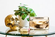My living room. I love and collect skulls, and I'm crazy for metals, especially brass. It's hard to see but this is a brass lily table from Marika's on Shelter Island.