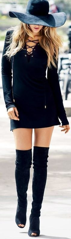Black Dress , Lovely Hat and Over the Knee boots