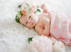 Winter newborn photos with florals from JL Designs