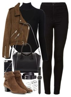 """""""Outfit with black jeans, brown suede jacket and boots"""" by ferned ❤️ liked on Polyvore featuring Topshop, Cushnie Et Ochs, Freebird, Casetify, Givenchy, J.Crew, Yves Saint Laurent, H&M and Candie's"""