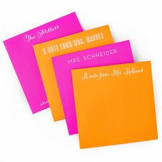 Brights Orange and Pink Square Personalized Pads – The Stylistic