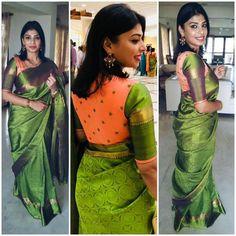 Orange butta cotton silk blouse with mehendi green sleeves Simple Blouse Designs, Saree Blouse Neck Designs, Stylish Blouse Design, Bridal Blouse Designs, Designer Blouse Patterns, Sumo, Blouse Models, Saree Models, Work Blouse
