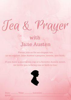 Tea & Prayer with Jane Austen Invitation - Rachel Dodge Saved By Grace, 31 Days, Jane Austen, Special Events, Rsvp, Addiction, Prayers, Invitations, Kit