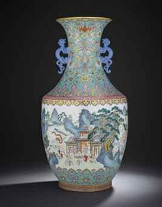 A MAGNIFICENT FINE TURQUOISE-GROUND FAMILLE ROSE 'HUNDRED BOYS' VASE QIANLONG MARK AND OF THE PERIOD The massive baluster vase is exquisitely decorated in brilliant enamels to depict a continuous scene of the 'Hundred Boys' celebrating the Spring Festival in extensive lakeside palace gardens on a bright turquoise-ground flanked by a pair of blue-enamelled chilong handles. Both the interior and base with turquoise enamel. 29 3/4 in