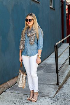 outfit with chambray shirt and white jeans
