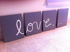 Canvas Art - a DARLING idea for a little!!! Spray paint, canvas, a brush. Voila!