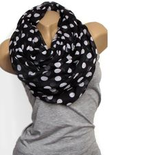 Loop Schal ♥ Punkte schwarz weiß groß von Faitly auf DaWanda.com