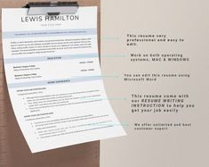This Professional resume template is just what you need to freshen up that old resume! Creative and Sophisticated while still being professional. Cv Simple, Modern Cv Template, Creative Cv, Resume Writing Tips, Any Job, Cover Letter Template, Professional Resume, Word Work, The Help