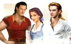 Luke Evans, Emma Watson, and Dan Stevens as Gaston, Belle, and Prince Adam from Disney's Beauty and the Beast