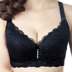 Hot 2016 New Sexy Ladies Big Size 3/4 Cup Lace Push Up Bra Women Black Bralette Deep V Bras Underwear Large Cup C D Plus Size Z1 - http://realbigshop.com/?product=hot-2016-new-sexy-ladies-big-size-3-4-cup-lace-push-up-bra-women-black-bralette-deep-v-bras-underwear-large-cup-c-d-plus-size-z1