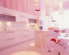 Kitchen with pink wall paint