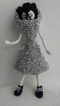 Björk Doll inspired by her video clip Who is it from her Medulla album. Her unique dress was designed by Alexander McQueen.  Björk was always my favourite artist and inspiration from childhood times with her unique and creative character. Since I do different type of artworks for long time and just started learning crochet and amigurumi I wanted to speak my imagination by creating this unique Björk doll.  The doll is around 36 cm and each part is handmade. Body base is done in amigurumi…