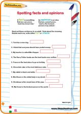 Use this worksheet to help your child learn to recognise sentences that are facts, and sentences that are opinions