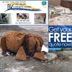 Core Drilling - RockBreaking/Demolition - Concrete Cutting – KatrockWe take on contract, tenderand individual projects.We are experts in thefollowing project specialties:· CORE DRILLING· CONCRETE CUTTING· ROCK DEMOLITION / BREAKING· KATROCK CHEMICAL (Crack IT)· REINFORCED CONCRETE STITCH DRILLINGAny Unwanted rocks on youryard or site? Too expensive to hire machinery or it cannot fit on sites? Please Contact:Catherine Atherton -(Operations Executive)Email: qs@bkdemolition.co.zaTel: 021 839…