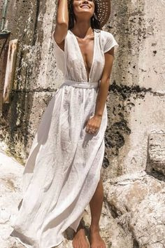 203ff0e148 White Plunging Open Back Slit Tied Casual Maxi Cover Up. Beach Cover UpsWhite  Beach Cover UpSwim Cover UpsSwimwear Cover UpsSwimsuit ...