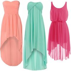 Mint green, peach and pink is turning up a lot for spring  - check out these cute high low dresses