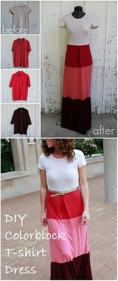 Talk about creative refashion projects! Amazing Colorblock T-shirt Dress – DIY