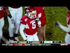 THE play of the weekend from #Arkansas' Joe Adams against #Tennessee. Holy Hogs!