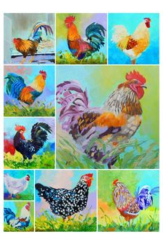collage of chicken series Summer Art Projects, School Art Projects, Kids Art Class, Art For Kids, Kids Art Galleries, Gond Painting, First Grade Art, Rooster Art, Crayon Art