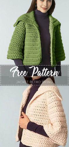 Jacket Retro Swing - Free Pattern Go to the free pattern Here Crochet Shrug Pattern, Crochet Jacket, Crochet Cardigan, Free Pattern, Coat Patterns, Clothing Patterns, Free Crochet, Knit Crochet, Shrug For Dresses