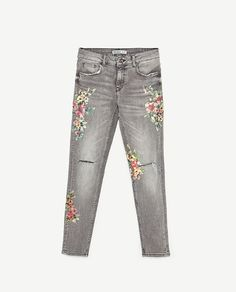 Image 8 of FLORAL PRINT JEANS from Zara