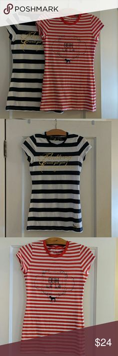 7c927f6d601 PINK Victoria s Secret T-Shirts Set of 2 2 Pink Striped T-Shirts