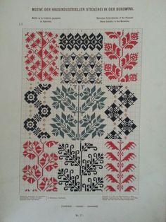 Stickerei aus Bukowina Cross Stitch Geometric, Cross Stitch Borders, Cross Stitching, Cross Stitch Patterns, Double Knitting Patterns, Knitting Charts, Loom Patterns, Folk Embroidery, Cross Stitch Embroidery