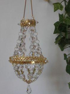 Deko Kronleuchter mini Kristallsteine Advent Weihnachten