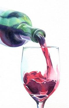 """RED, RED WINE watercolor painting"" - Original Fine Art for Sale - © Barbara Fox- the transition from purple to wine red at the mouth of the bottle Wine Painting, Painting & Drawing, Watercolor Paintings, Original Paintings, Watercolors, Fox Watercolour, Original Art, Water Drawing, Food Painting"