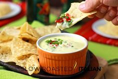 Queso blanco dip -- just need chips, and we're ready for football season. #recipe