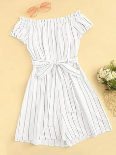 Striped Tie Front Off The Shoulder Playsuit - Popviva Cute Comfy Outfits, Cute Girl Outfits, Girly Outfits, Pretty Outfits, Stylish Outfits, Stylish Clothes, Girls Fashion Clothes, Summer Fashion Outfits, Cute Fashion