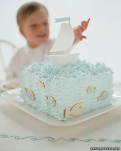 I love the simplicity of this as a smash cake. Sailboat Birthday Cake - Martha Stewart Food