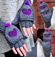 Be My Valentine Flirty Fingerless Gloves with Vday Messages Knitting pattern by Lauren Riker Fingerless Gloves Knitted, Crochet Gloves, Knit Mittens, Knit Crochet, Wrist Warmers, Hand Warmers, Knitting Patterns Free, Crochet Patterns, Knitting Ideas