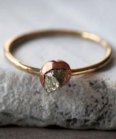 Pyrite, Copper & Brass Ring