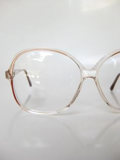 2247fe02f6 Vintage Pink Eyeglasses 1980s Oversized Glam Ladies French France Glasses  Optical Frames Clear Acrylic Crystal Transparent See Through