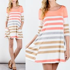 EVA 3/4 sleeve multi color stripe pocket dress 3/4 sleeve multi color stripe pocket dress - CORAL Fabric 62% Polyester 33% Rayon 5% Span Made in USA Bellanblue Dresses