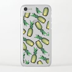 Pineapple Pattern Clear iPhone Case by georgianaparaschiv Pineapple Pattern, Smartphone, Iphone Cases, I Phone Cases, Iphone Case
