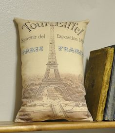 Paris bedroom pillow - by lisawinestudios.etsy.com