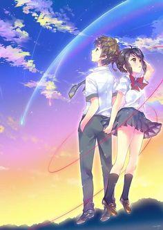 Costume Anime Love is a vine that grows into our hearts.Tachibana Taki and Miyamizu Mitsuha from your name anime Fanarts Anime, Anime Films, Anime Characters, Manga Anime, Anime Art, Kimi No Na Wa, Couple Look, Mitsuha And Taki, Gurren Laggan