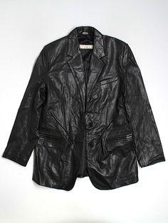 bold, natural --- leather blazer